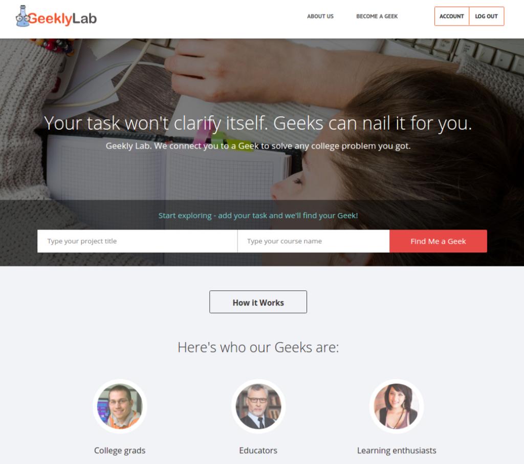 geeklylab homepage screenshot